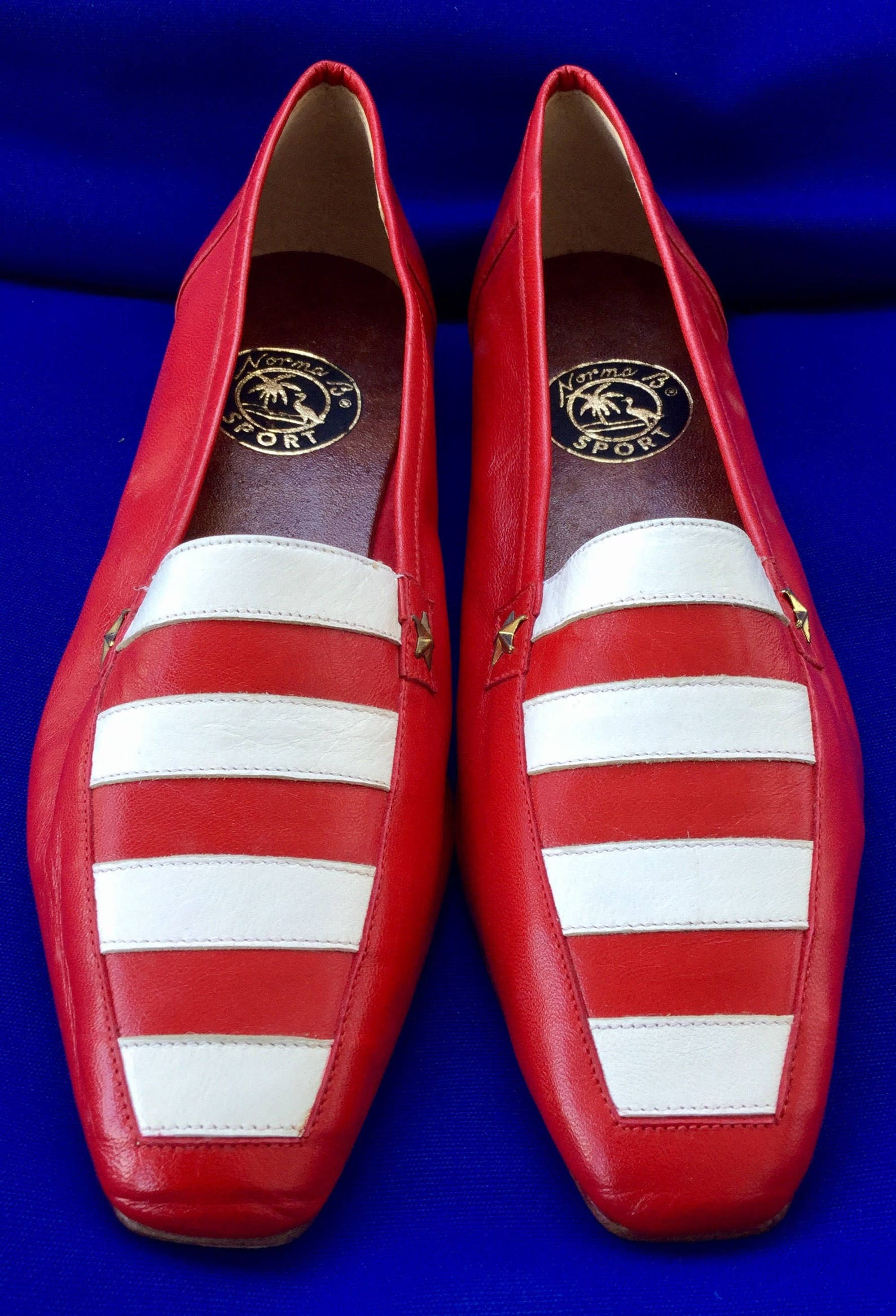 cool vintage norma b sport nautical stripes white/red leather square toe ballet/flats (reduced)