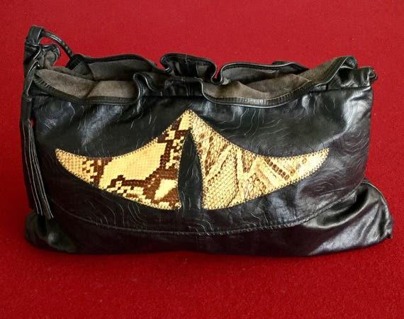 6a7633d357af Super Cool 80s Vintage HALA Black Embossed Leather W Snake