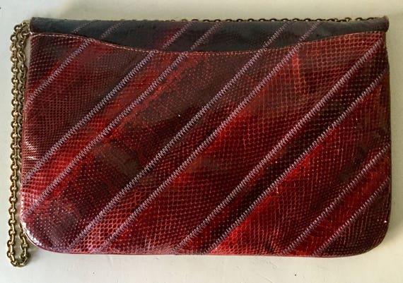 ce6f5c470886 Beautiful Vintage 70s VARON Exotic Snake Skin Vamp Burgandy