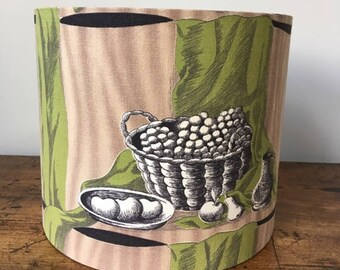SALE Vintage fabric lampshade still life 25cm drum