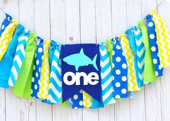 Baby Shark Birthday Banner Highchair First 1st High Chair Boy Decor Ofishally One Big Fishing Theme Smash Cake Garland