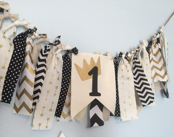 Mr Onederful Banner Birthday Highchair Decorations Boy 1st First Fabric Decor Crown Black And Gold Party