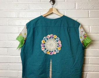 Summer Shirt - Upcycled - Boho Clothing - Hippie Shirt - Patchwork -  Repurposed - Summer - Spring - All Genders