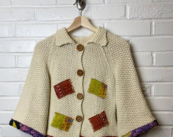 Upcycled Patchwork Sweater - Boho style -  Zero Waste - Repurposed - All Genders