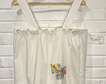 Upcycled Top - Vintage Pillowcase - Summer Top -  Embroidered - Plus Size -Zero Waste - All Genders