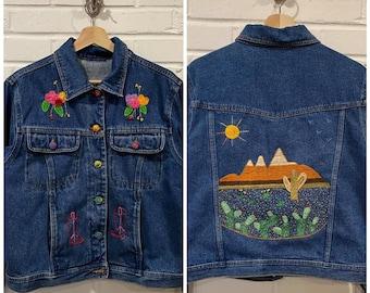 Embroidered Jacket - Upcycled Coat - Denim  - Western - Handmade - Desert - Boho  - Festival Coat- All Genders