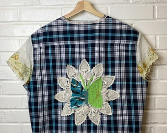 Summer Shirt - Upcycled - Boho Clothing - Hippie Shirt - Patchwork -  Repurposed - Spring - All Genders