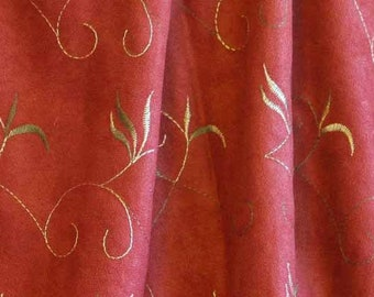 """EMBROIDERED SUEDECLOTH 1yard, Gold Leaves on Russet Brown, 60"""" Wide Upholstery Fabric, Fall Alova, Heavy Wt Polyester"""