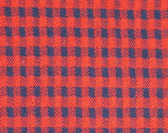 "1/2 YARD, WOOL KNIT Suiting, Red and Black Check, 64"" Wide Fashion or Craft Fabric, Medium Weight, Polyester Blend, B29"