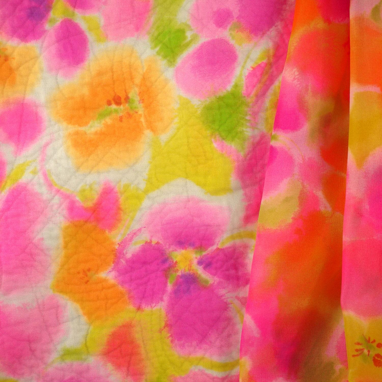 Chiffon Print 34yard Pink Orange Flowers 43 Wide Floral Fashion