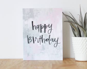 happy birthday card - are you my bestie, greeting, girlfriend, love, anniversary, best friend, handmade, abstract, brush lettering