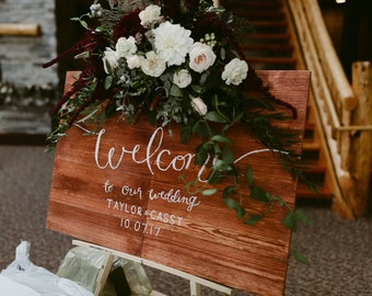 WOODEN WELCOME CALLIGRAPHY large custom wedding sign, welcome sign, calligraphy sign, wooden sign, rustic wedding, personalized wedding gift