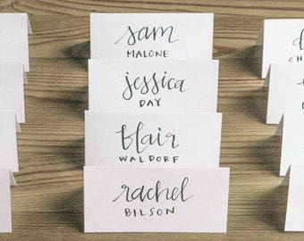 CALLIGRAPHY PLACE CARDS, custom, style #1 - wedding, event, seating chart, escort cards, dinner, modern calligraphy, name tags, tent cards