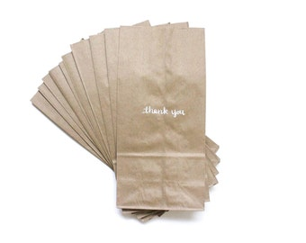 THANK YOU BAGS, kraft paper bag, white text, set of 10 - kraft paper, lunch size paper bag, gift bag, wedding favor, paper goods, party good