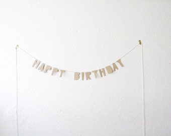 kraft paper banner. HAPPY BIRTHDAY - handmade, party banner, home banner, word banner, paper goods, home decor, kraft banner, bunting, party