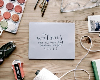 CUSTOM ENVELOPE ADDRESSING, style #5 - wedding, invitations, paper goods, addressing, modern calligraphy, envelope, handwriting, events