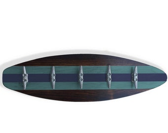 Surfboard Towel Rack with Boat Cleat as Hooks Nautical Coatrack for Surfer or Beach House Decor Turquoise and Navy Blue Stripes