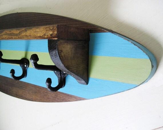 Surfboard Shelf Coat Rack In Dark StainTurquoise And Green Etsy Inspiration Surfboard Coat Rack
