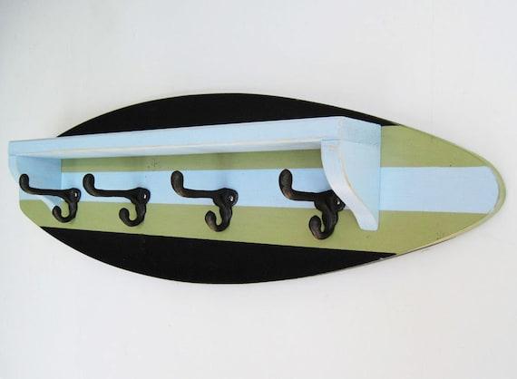 Black Pale Blue And Green Surfboard Shelf Coat Rack 40 Etsy Delectable Surfboard Coat Rack