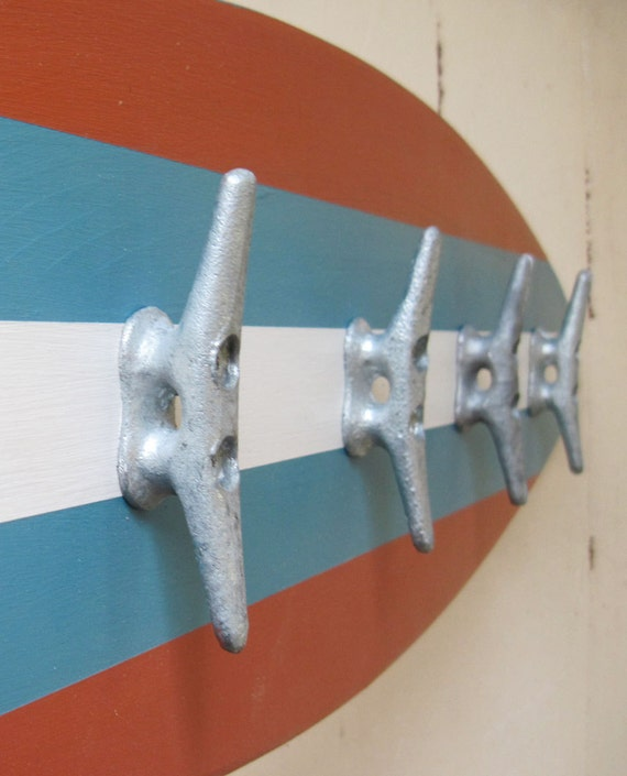 Surfboard Coat Rack 40 Orange And Turquoise Etsy Interesting Surfboard Coat Rack