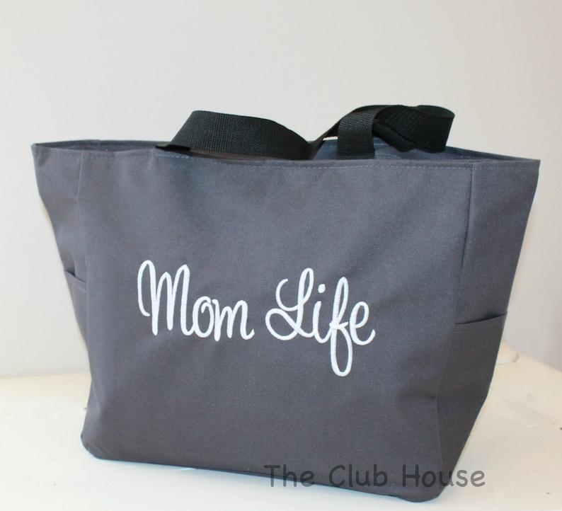 85c76da42 Mom Life Bag Grey Tote Bag Zipper Closure Diaper Bag Baby   Etsy