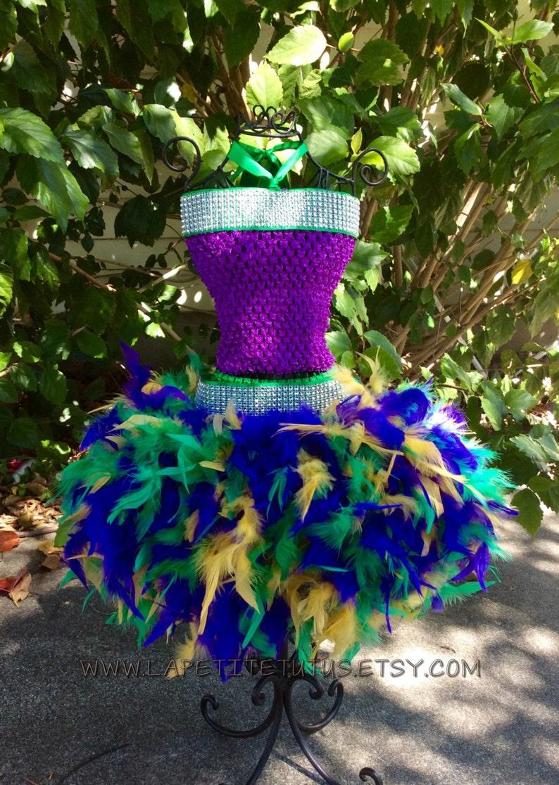 Mardi gras tutu dress custom faux rhinestone belt girls toddler photo prop feather bottom outfit of choice