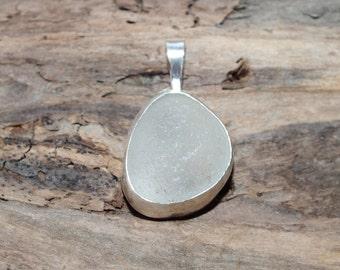Sea Glass Pendant, White Bezeled Sea Glass Necklace, Sea Glass Jewelry, Lake Jewelry, Mothers Day Gift, Beach Jewelry