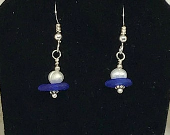 Blue Sea Glass Earrings, Seaglass Earrings, Lake Bottle Earrings, RARE Cobalt Blue Sea Glass, Sea Glass Jewelry