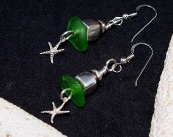 Sea Glass Earrings, Green Seaglass Earrings, Sterling Starfish Earrrings, Sea Glass Jewelry