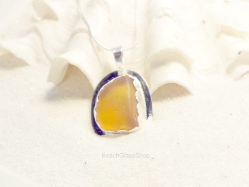 Sterling Sea Glass Necklace Yellow Vintage Glass Jewelry Yellow Sea Glass Necklace Rare Sea Glass Necklace Sea Glass Gift
