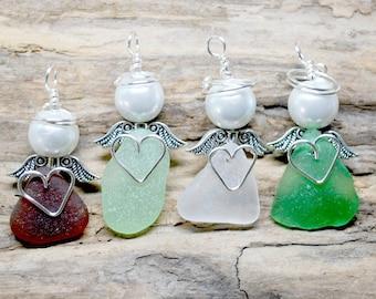 Sea Glass Angel, Sea Glass Guardian Angel, Beach Glass Angel, Beach Ornament, Beach Angel, Sea Glass Gift, Gift For Nurse, Small Angel