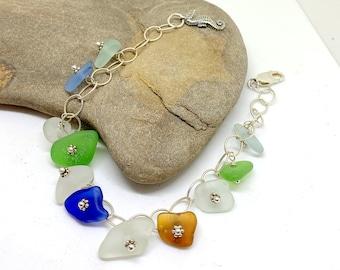 Sea Glass Charm Bracelet, Sterling Charm Bracelet, Sea Glass Jewelry, Sea Glass, Beach Glass Gift, Beach Gift For Mom