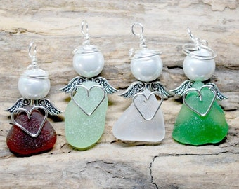 Angel Gift For A Friend, Best Friend Gift,  Sea Glass Angel, Sea Glass Gift, Angel Gift For Mom, Sea Glass Jewelry, Small Angel, Nurse Gift
