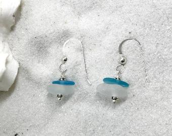 Beach Glass Earrings, Sea Glass Jewelry, Sea Glass Earrings, Lake Bottle Earrings, Lake Erie Beach Glass, Beach Gift