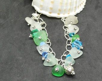 Sea Glass Bracelet,  Sea Glass Gift, Sea Glass Accessory, Lake Erie Beach Glass Bracelet, Beach Jewelry, Sea Glass