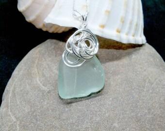 Sea Glass Necklace, Sea Glass Jewelry, Lake Erie Beach Glass Jewelry, Beach Necklace, Mothers Day, Wrapped Sea Glass, Beach Gift for Mom