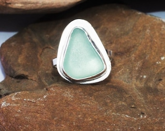 Sterling Silver Sea Glass Ring, Sterling Ring, Sea Glass Ring, US 6 1/4 Ring, Sea Glass Jewelry, Sea Glass Gift For Mom