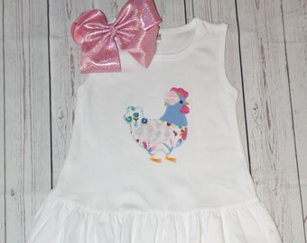 Chicken Dress, Girls Chicken Dress, Chicken Dresses, Farmyard Dress, Applique Chicken Dress, Personalized Chicken Dress, Farm Day Dress