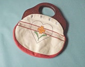 Women's or Girl's Vintage Needle Point Interchangeable Retro Clutch or Purse Be My Valentine