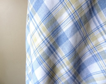 Vintage Maxi Skirt Blue and Yellow Plaid size Small