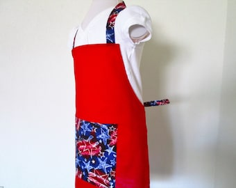 Childrens Apron - SALE - Fourth of July..Red White and Blue Stars, Cherry red background and stars on the pocket, neck and waist straps