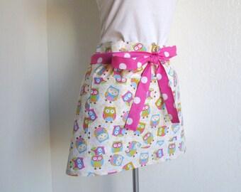 Half Apron - SALE Owls All Over and  Retro Pink Polka Dots, vendor apron, cafe apron, cooking apron, baking apron, kitchen apron