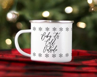 Camp Mug-Christmas Baby It's Cold Outside snowflake Hostess Gift Nordic Custom Personalized Hot Chocolate Holiday Snow Winter Retro Classic