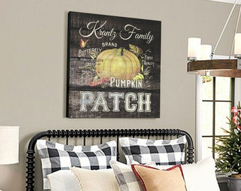 Canvas Art Print Vintage Pumpkin Patch Personalized