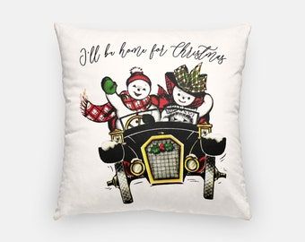 Jolly Snowman Joyride Classic Car Artisan Pillow Case Holiday Christmas Frosty Jingle Bells Retro Home Vintage Throw Pillow Decoration Decor