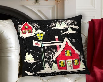Throw Pillow Vintage Christmas Red House Snow Holiday Frosty Jingle Bells Retro Home Decoration Decor Classic