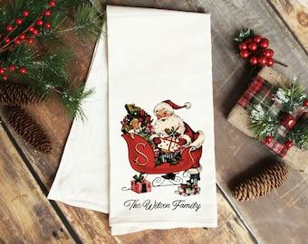 Santa's Sleigh Tea Towel Customized Personalized Toyland Dishtowel Stockings Classic Christmas Dish Cloth Holiday North Pole Workshop Jolly