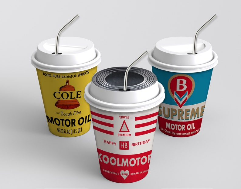 Vintage Radiator Springs Oil Can Cup Wraps - INSTANT DOWNLOAD