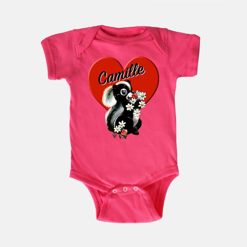 Vintage Retro Skunk Heart Valentine Cute Animal Toddler Kids Tee shirt Baby Onesie Name T-shirt
