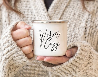 Camp Mug-Warm and Cozy Christmas Hostess Gift Modern Custom Personalized Hot Chocolate Holiday Snow Winter Classic Black and White Coffee